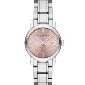 Burberry - City pink dial stainless steel watch